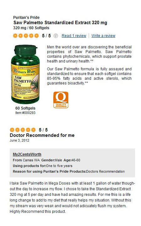 Puritan's Pride Saw Palmetto Standardized Extract 320 mg / 60 Softgels