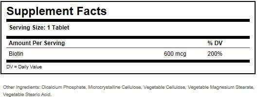 biotin 600 mcg ingredients
